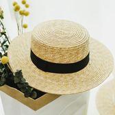 售完即止-平頂麥稈草編草帽子女春夏平檐遮陽休閒海邊度假沙灘帽庫存清出(5-30T)