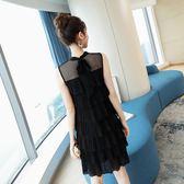 初戀裙一字肩裙子女夏新款韓版溫柔超仙雪紡洋裝黑色蛋糕裙      芊惠衣屋