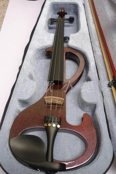 酒紅色手工電子小提琴4/4【藍星居家】