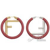 茱麗葉精品【全新現貨】FENDI 8AG797 圓形F LOGO羊皮不對襯個性耳環.紅