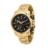 【Maserati 瑪莎拉蒂】SUCCESSO光動能三眼計時鋼帶腕錶-土豪金/R8873645002/享兩年保固