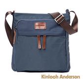 金安德森 Natural Trend 原革皮標小型多格層方形側背包 藍色