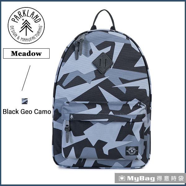 Parkland 後背包 黑色迷彩 電腦後背包 多功能休閒背包 Meadow-067 MyBag得意時袋