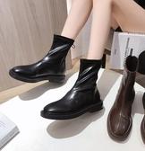棕色馬丁靴女英倫風2021年新款秋冬百搭加絨棉鞋瘦瘦短靴ins中筒靴子 8號店