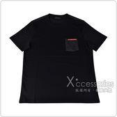 PRADA經典橡膠LOGO拼接口袋純棉短袖T恤(黑)