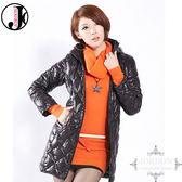 JORDON 橋登 JD5023-黑  女菱格紋長版超輕羽絨外套 輕量化羽絨衣/可收納羽絨衣/保暖羽絨外套
