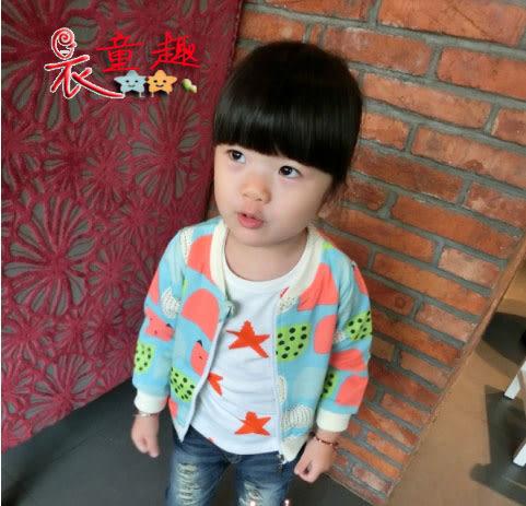 衣童趣 ♥女童 韓版 西瓜棒球外套 甜美可愛夾克 冷氣房小外套 遮陽外套