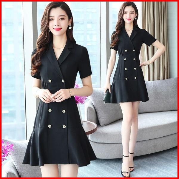 韓國風短袖洋裝 OL西裝連身裙V領雪紡連衣裙a字小黑裙 依多多