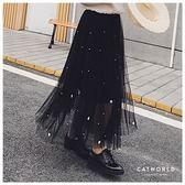 Catworld 正韓空運*珍珠花朵網紗傘狀長裙【13002133】‧F