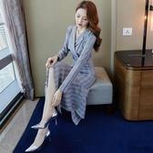 魚尾洋裝職業格子西裝連身裙初秋裝年女氣質女神范衣服襯衫魚尾裙 7月熱賣