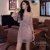 吊帶連身裙 短袖小開衫時尚套裝女裝百褶亮絲兩件套
