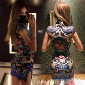旗袍 韓版復古龍圖騰印花大氣包臀修身少女改良開叉旗袍連身裙潮 鹿角巷