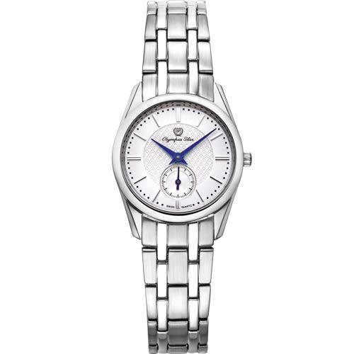 Olympia Star 奧林比亞之星 經典都會系列小秒針時尚計時腕錶(都會銀)26mm
