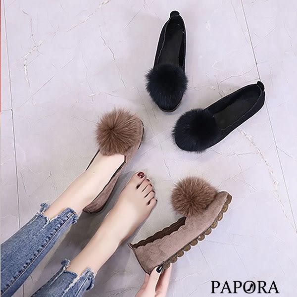 PAPORA絨球花邊平底鞋KYK449黑/卡其(偏小)