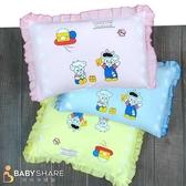 BabyShare時尚孕婦裝【COWA208】台灣製 動物圖案花邊寶寶枕 可拆洗式信封枕套 新生兒必備 枕頭