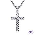 ides愛蒂思 輕珠寶義大利進口14K白金十字架項鍊鎖骨鍊(16吋-KP250)