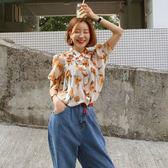 Qmigirl 韓國印花雪紡襯衫女超仙百搭 上衣【T1373】