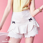 【SHOWCASE】甜美蝴蝶結蕾絲下擺褲裙(白)