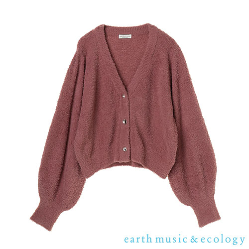 「Hot item」蓬鬆毛絨V領開襟針織罩衫 - earth music&ecology