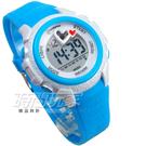 MINGRUI 雙心時刻 愛心 小巧輕便多功能 計時碼錶 電子錶 學生錶 兒童手錶 女錶 日期 夜光 M8576淺藍