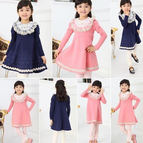 韓版《蕾絲花領款》甜美長袖洋裝 連衣裙