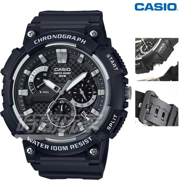CASIO卡西歐 MCW-200H-1A 計時碼錶 三眼指針運動錶 學生錶 防水手錶 男錶 灰x黑 MCW-200H-1AVDF