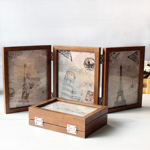 相框三折相框擺台復古創意六面6寸7寸組合文藝餐廳酒吧裝飾像框擺件【1件免運好康八折】