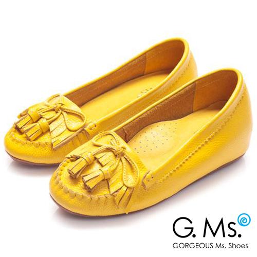 G.Ms. 流蘇蝴蝶結真皮內增高豆豆鞋*快樂黃