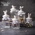 北歐陶瓷動物頭收納罐零食儲物罐廚房透明玻...