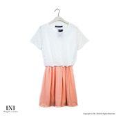 【INI】好感風格、腰鬆緊一件式設計長版上衣.粉色