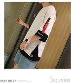 夏圓領七分袖t恤男短袖韓版潮流假兩件寬鬆五分袖上衣夏  ciyo黛雅