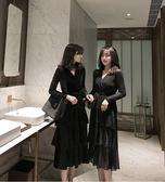 小禮服 秋冬氣質絲絨很仙的年會禮服黑色V領連身裙長裙女蛋糕裙