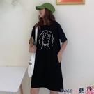 熱賣短袖洋裝 2021夏裝新款韓版流行口袋寬鬆開叉中長款超火短袖t恤女連身裙【618 狂歡】