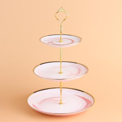 陶瓷創意果盤歐式三層點心架下午茶雙層盤水果盤蛋糕架子現代客廳