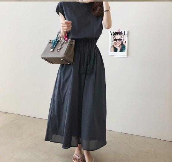 洋裝韓棉麻裙長裙收腰洋裝素面簡約法式收腰寬鬆大碼棉麻連衣裙GB108-725皇潮天下