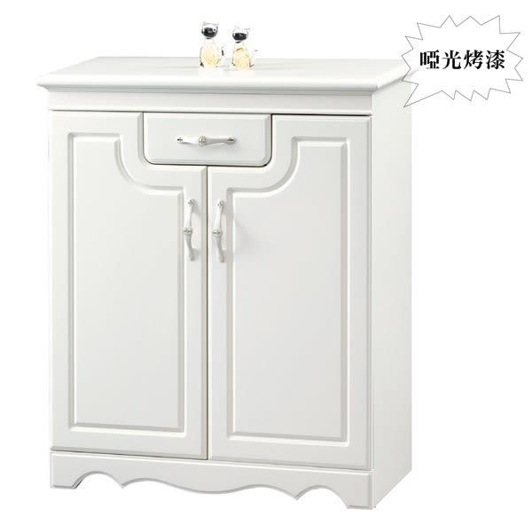 【水晶晶】CX8730-1理查2.8*3.3呎白色烤漆單抽雙門鞋櫃