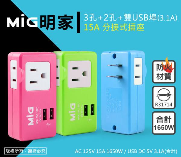 15A分接式插座 商檢合格 MIG明家 2P 3孔+2孔+雙USB埠 防火材質 擴充插座 防塵絕緣套 3.1A Max 旅充