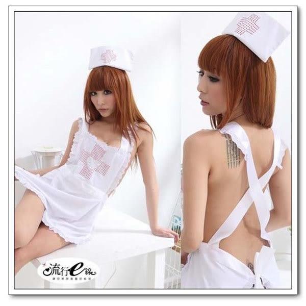 護士服~熱銷角色扮演白色圍兜露背護士裝~流行E線A354