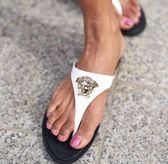 ■2018新品■專櫃7折 VERSACE  全新真品  橡膠及金屬美杜莎女款夾腳人字拖鞋 白色