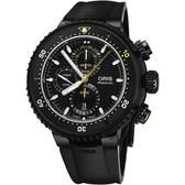 限量500只 ORIS 豪利時 Dive Control 千米防水鈦金屬計時潛水機械錶-黑/51mm 0177477277784-SET
