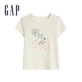 Gap女幼立體童趣圖案圓領短袖T恤584844-可愛白貓圖案