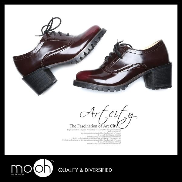 復古擦色粗跟綁帶牛津跟鞋 mo.oh (歐美鞋款)