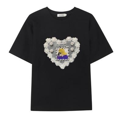 M-4XL胖妹妹大碼短T~韓版女裝純棉大碼蕾絲胖妹妹200斤寬松短袖T恤8383N503莎菲娜