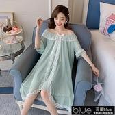 很仙的睡裙女新款夏季純棉短袖公主宮廷仙女風蕾絲性感冰絲睡【全館免運】