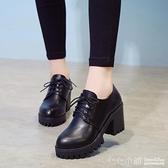黑色女士復古小皮鞋網紅2019秋季新款英倫高跟鞋粗跟職業工作單鞋