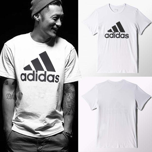 adidas T恤 Essential Linear Tee 白 黑 LOGO 三條線 短袖上衣 男款 【PUMP306】 CD4863