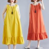 胖女人遮肚顯瘦連身裙減齡洋氣2020夏季新款大碼女裝無袖中長款潮 中秋降價