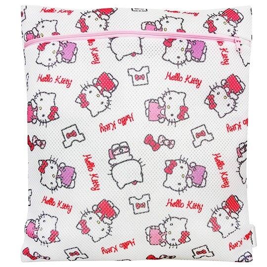 小禮堂 Hello Kitty 方型網狀洗衣袋 洗衣網袋 護洗袋 (粉白 滿版) 4710243-59603