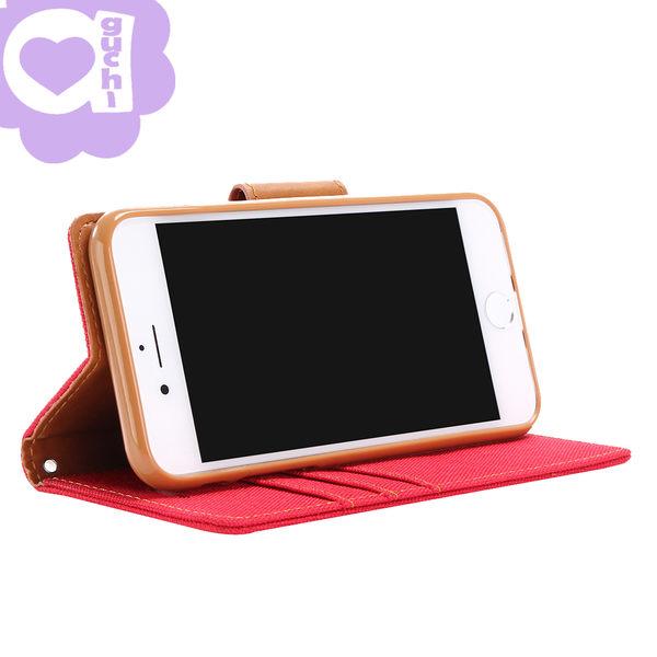Apple iPhone 7 Plus/8 Plus 共用韓風雙色牛仔紋皮套 側掀磁扣支架式皮套 桃紅橘灰多色選擇
