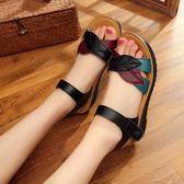 夏季魚口女鞋軟皮軟底防滑平跟平底